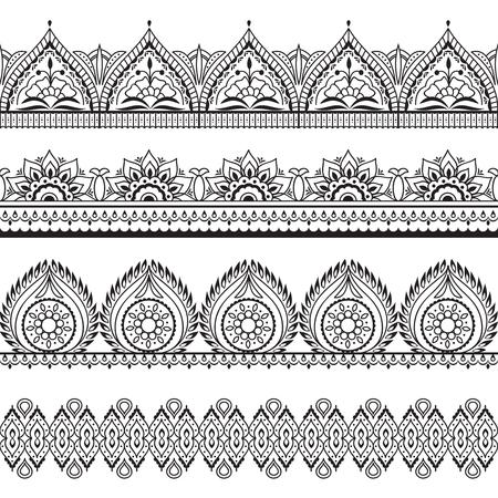 Frontières transparentes Mehndi. Motifs orientaux au henné. Cadres vectoriels floraux indiens. Contour de motif Mehndi, illustration de cadre d'ornement indien Vecteurs