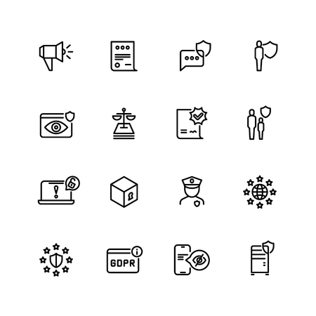 Gdpr line icons. Privacy policy, digital business information safety and new internet standards vector symbols. Illustration of confidential and safety web protection