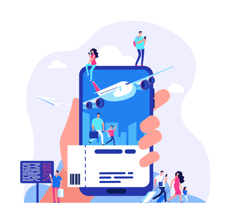 Online ticket concept. Buying tickets with smartphone. People booking plane or train travel vector illustration. Buy ticket online, journey service, vacation and tourism airplane Vektoros illusztráció
