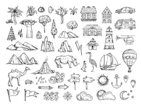 Elementi della mappa. Disegna collina e montagna, albero e cespuglio, edifici e nuvole. Simboli vettoriali disegnati a mano d'epoca per la cartografia. Illustrazione di casa e auto, faro e nave, animale e puntatore Vettoriali