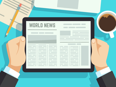 Homme d'affaires, lecture de nouvelles sur la table. Journal en ligne, magazines quotidiens. Actualités commerciales au concept de vecteur de petit déjeuner. Illustration des médias quotidiens d'affaires