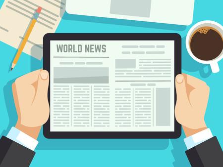Uomo d'affari leggendo notizie sul tavolo. Giornale online, riviste quotidiane. Notizie di affari a colazione il concetto di vettore. Illustrazione quotidiana dei media del giornale digitale di affari