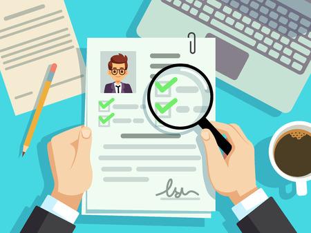Job interview concept. Businessman cv resume, work evaluation vector background. Cv candidate, job resume, personnel resume illustration 向量圖像