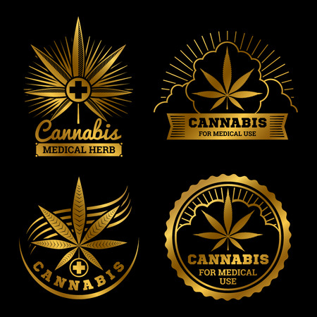 Cannabis banners or labels design. Gold medical logos vector set illustration Çizim