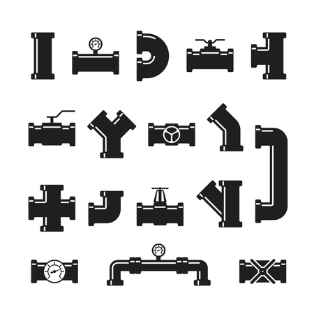 Steel pipe connector, fittings, valves, industrial plumbing for water and gas pipeline vector isolated icons. Pipeline industrial, valve steel connector illustration