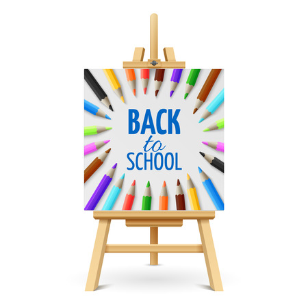 Learning and school education vector concept. Back to school background with 3d colored pencils on wood easel isolated on white background. Illustration of back school on easel Stock Illustratie