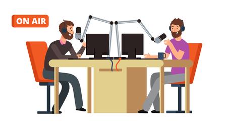 Programma radiofonico. Radiodiffusione dj che parla con i microfoni in onda. Intrattenimento di trasmissione di concetto di vettore, illustrazione di trasmissione dal vivo Vettoriali