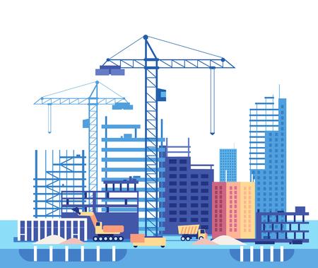 Haus bauen. Arbeitsprozess des Hochbaus und der Maschinen. Flache Vektorkonzept-Entwicklungsstruktur mit Ausrüstung, Wolkenkratzerturmillustration