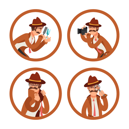 Conjunto de vectores de avatares detective de dibujos animados. Illutration de investigador policial, inspector privado