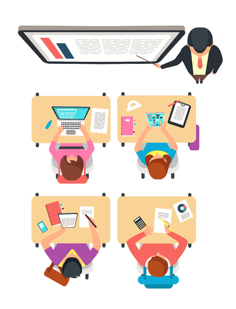 Class top view. Students and teacher learning in college classroom with blackboard vector illustration. School class education, teacher college training Ilustração