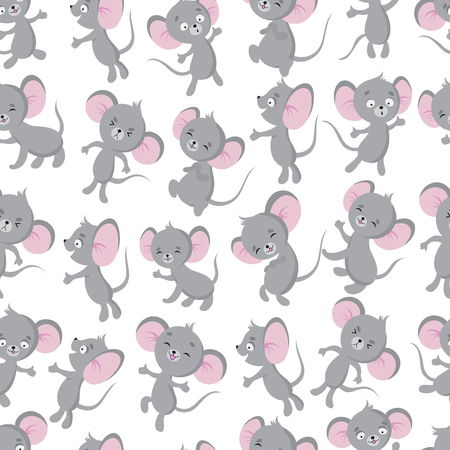 Cute baby mouse seamless pattern. Adorable toddler, newborn textile vector design. Illustration of little rat, fun cartoon animal
