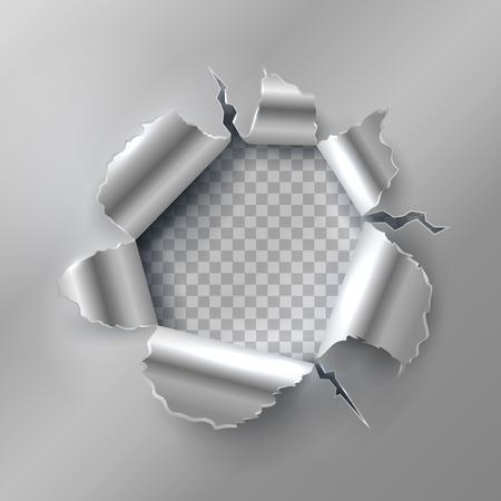 Foro di proiettile in metallo. Apertura con bordi in acciaio strappati. Illustrazione vettoriale isolato su sfondo trasparente. Apertura metallica e proiettile di bordo