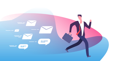 Escape plenty notifications. Frightened busy businessman run away from clients feedback emails. Email pursuit man vector concept. Many notification message, bubble note spam illustration Illustration
