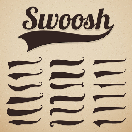 Retro texting tails. Swooshes swishes, swooshes and swashes for vintage baseball vector typography. Illustration of swoosh and swash, swish and swirl collection Ilustração