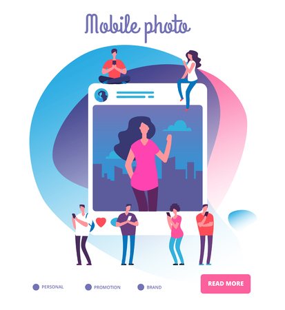 Young people posting self photos. Social network publication, youngsters shooting photo pictures or smartphone addiction vector concept. Photo selfie post, smartphone social mobile illustration