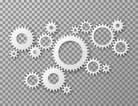 Sfondo di ingranaggi. Ingranaggi delle ruote dentate isolato su sfondo trasparente. Concetto di vettore industriale e ingegneria dei componenti della macchina. Illustrazione della ruota dentata dell'ingranaggio, processo del meccanismo meccanico