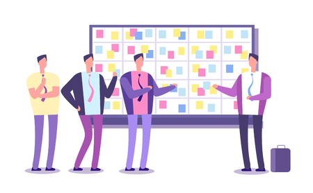 Scrum planning board. Employees planning work at taskboard. Business process leaning and meeting vector concept. Team work meeting, process methodology teamwork illustration