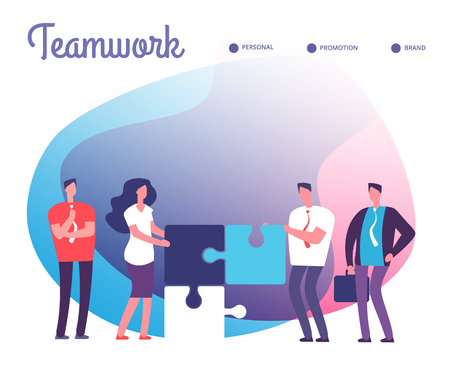 Business people solve puzzle. Development, easy solution and teamwork vector concept with employee characters and puzzle pieces. Teamwork business solution, employee make puzzle cooperation