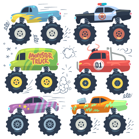 Monster cars. Cartoon cars with big wheels. Isolated vector set. Illustration of transportation monster truck collection