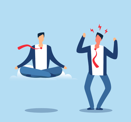 Angry and calm. Adult man experiences stress and meditates in the lotus position. Happy and angry person. Vector business concept man yoga meditating and anxiety excitement illustration