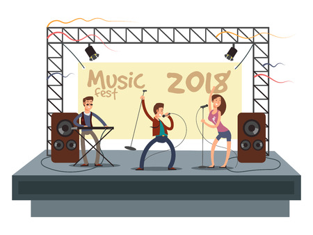Music festival concert with pop music band playing music. Musician and singer duet on stage vector illustration. Musician stage with sound and singer