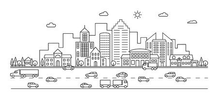Line city. Outline town street with buildings and cars. Modern vector doodle cityscape and transportation. Illustration of town and city street line