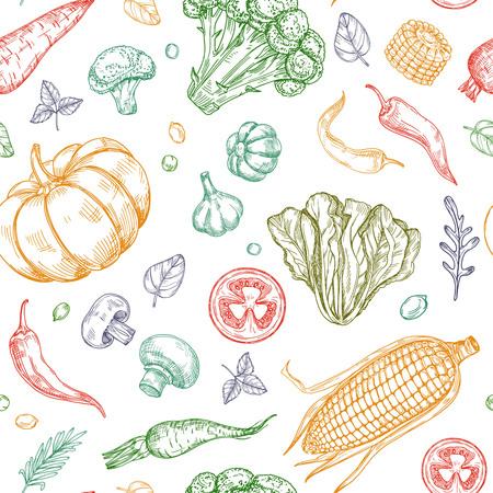 Sketch vegetables seamless pattern. Vegetable soup organic farm food vector vegetal background. Illustration of organic food pattern vegetable