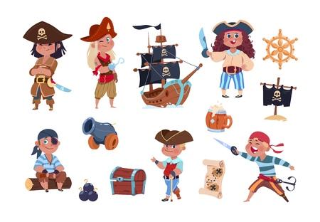 Piraci z kreskówek. Śmieszne pirackie postacie kapitana i marynarza, kolekcja wektorów mapy skarbów statku. Postać kapitana statku, ilustracja piratów dzieci