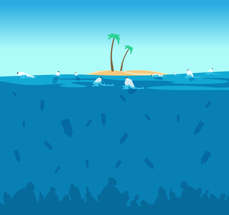 Plastic pollution of ocean. Bottles, plastic bags and debris on the seabed. Water environment protection eco vector concept. Illustration of ocean plastic pollution, island with green palm in sea