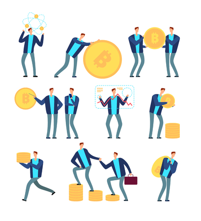 Ico and blockchain concept. Business people with cryptocurrency and tokens. Globe digital mining and profit vector set. Business virtual coin, internet ico, startup with token illustration
