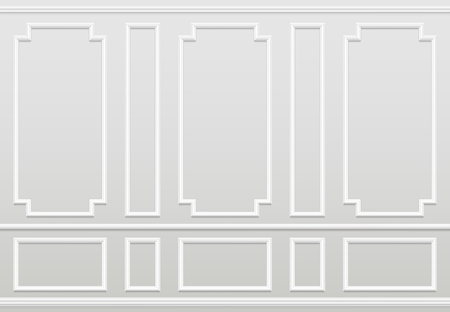 Empty white wall. Moulding panels classic home decoration. Living room vector interior. Illustration of wall plaster panel, architecture interior Stock Vector - 109357284