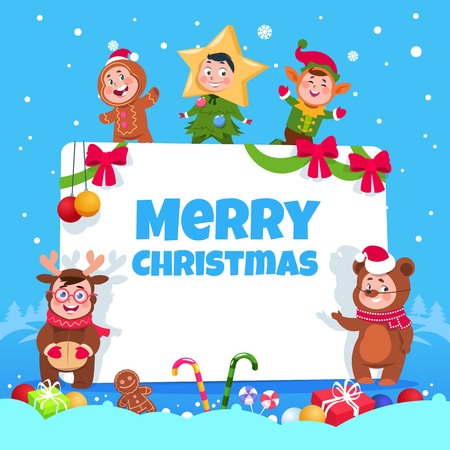 Merry christmas greeting card. Kids in christmas costumes dancing at childrens winter holiday party. Vector poster xmas party children, holiday celebration illustration