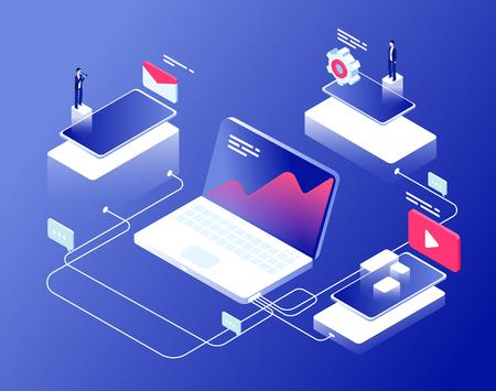 Network and affiliate marketing concept. Referral programs business clients recommendation. Internet revenue isometric background. Affiliate management internet line illustration