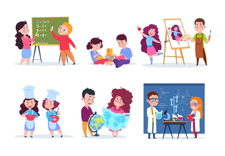 Niños en lecciones. Niños de la escuela que estudian geografía, química y matemáticas. Los niños y niñas leen, dibujan y cocinan dibujos animados. Escuela de lección de educación de personajes vectoriales, química y geografía