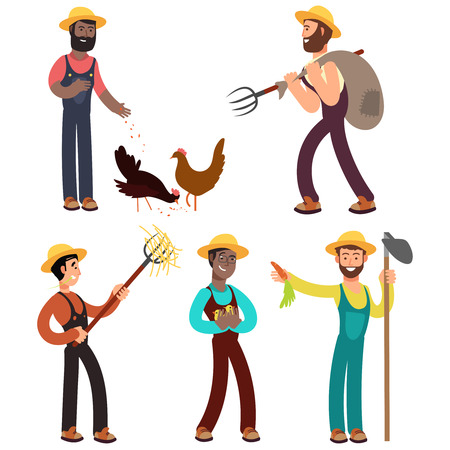 International farmers team cartoon vector illustration. Farmer character profession, occupation agriculturist