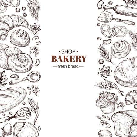 Bakery vector retro background with hand drawn doodle bread. Illustration bakery and bread shop, vintage drawing poster Vetores