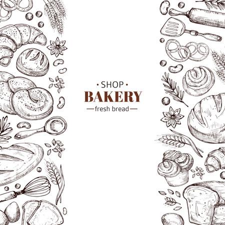 Fond rétro de vecteur de boulangerie avec pain de doodle dessiné à la main. Illustration boulangerie et boulangerie, affiche de dessin vintage Vecteurs