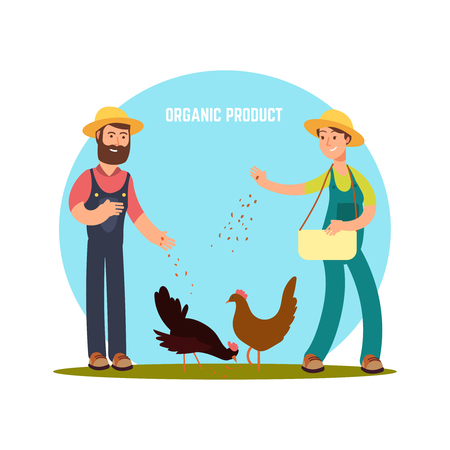 Two farmers feed animals. Cartoon character harvest vector illustration isolated on white background