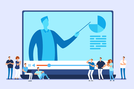 Online education. Video tutorials, internet training and web course vector concept. Illustration of education training, internet web video e-learning
