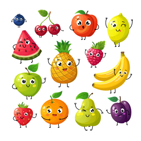Cartoon funny fruits. Happy kiwi banana raspberry orange cherry with face. Summer fruit and berry vector characters isolated on white. Fruit kiwi and banana, orange and strawberry illustration