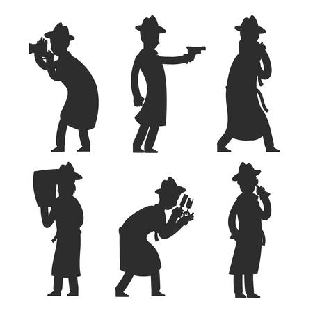 Silhouettes de détective isolés sur blanc. Illustration vectorielle de policier silhouettes. Enquêteur de police détective, inspecteur privé Vecteurs