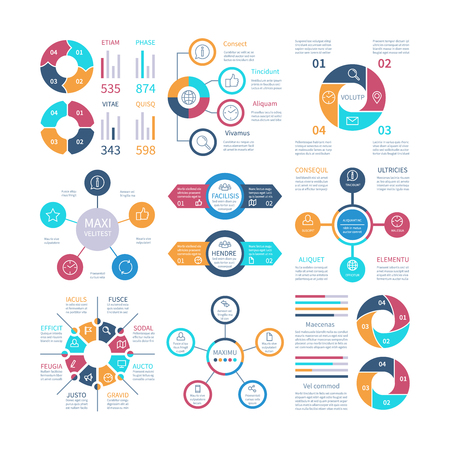 Infographic design. Pie charts and step circle diagram, text layouts bar graphs and histograms. Vector infographics set of color infochart illustration Illustration
