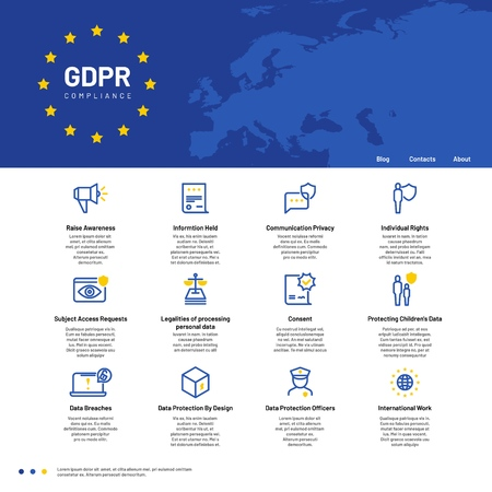 GDPR concept. General Data Protection Regulation, safety personal communication vector background. Digital regulation technology illustration