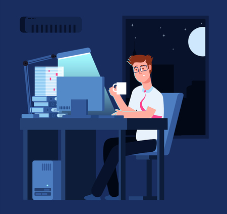 Work late concept. Man at night in office with pile of paper and laptop. Business vector background. Illustration of business man in office Ilustración de vector