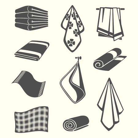 Kitchen and room service towels, napkins, textile vector illustration isolated on background Ilustração