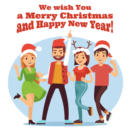Friends celebrate Christmas. Merry Christmas and New Year party with happy cartoon girls and boys illustration vector