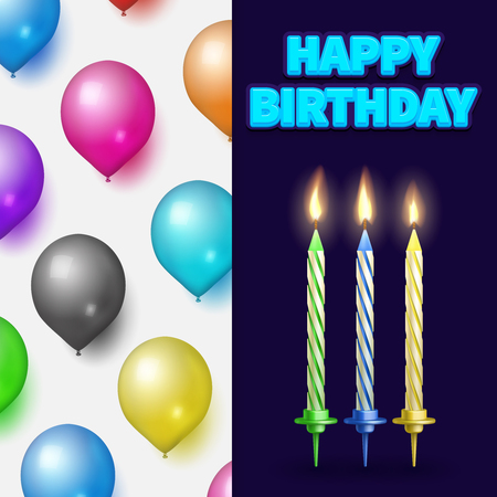 Birthday party banner or card template with realistic cake candles and balloons. Vector illustration