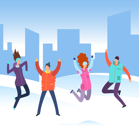 Cartoon people in winter clothes on city landscape jumping. Happy merry christmas holiday vacation vector concept illustration