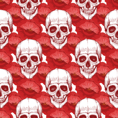 Human skull sketch and red poppy flowers seamless pattern illustration background Illustration