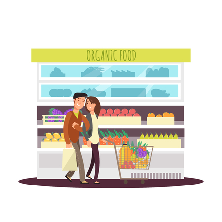 Cartoon character happy couple buy organic fruits and greens. Vegetarian people and food store. Market fruit, store grocery, vector illustration